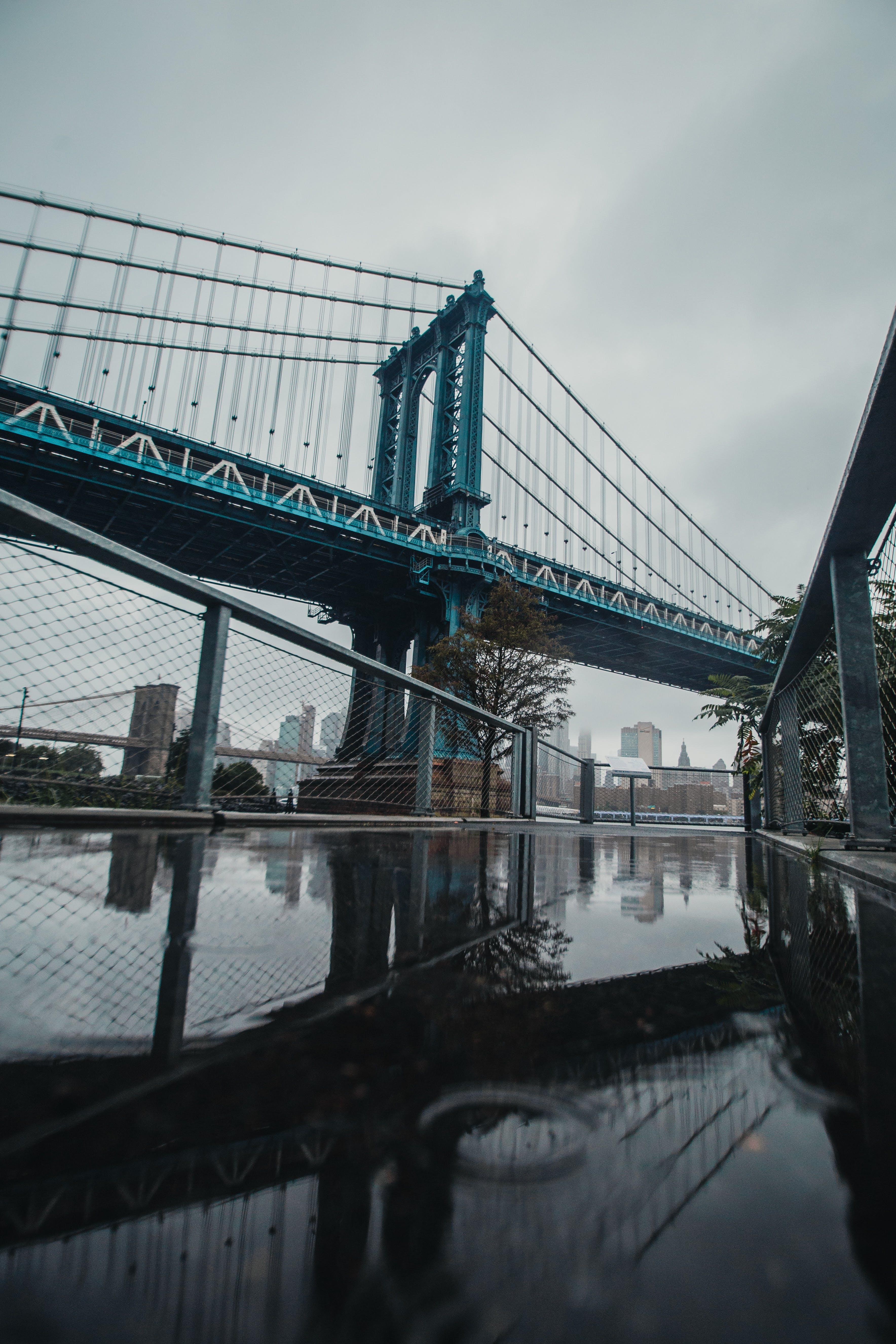 Suspension Bridge Near Body Of Water