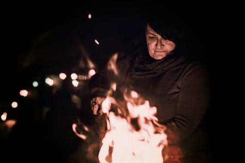 Woman Near Bonefire