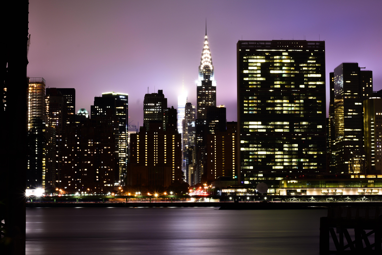 Free stock photo of chrysler building, city, city lights, fog