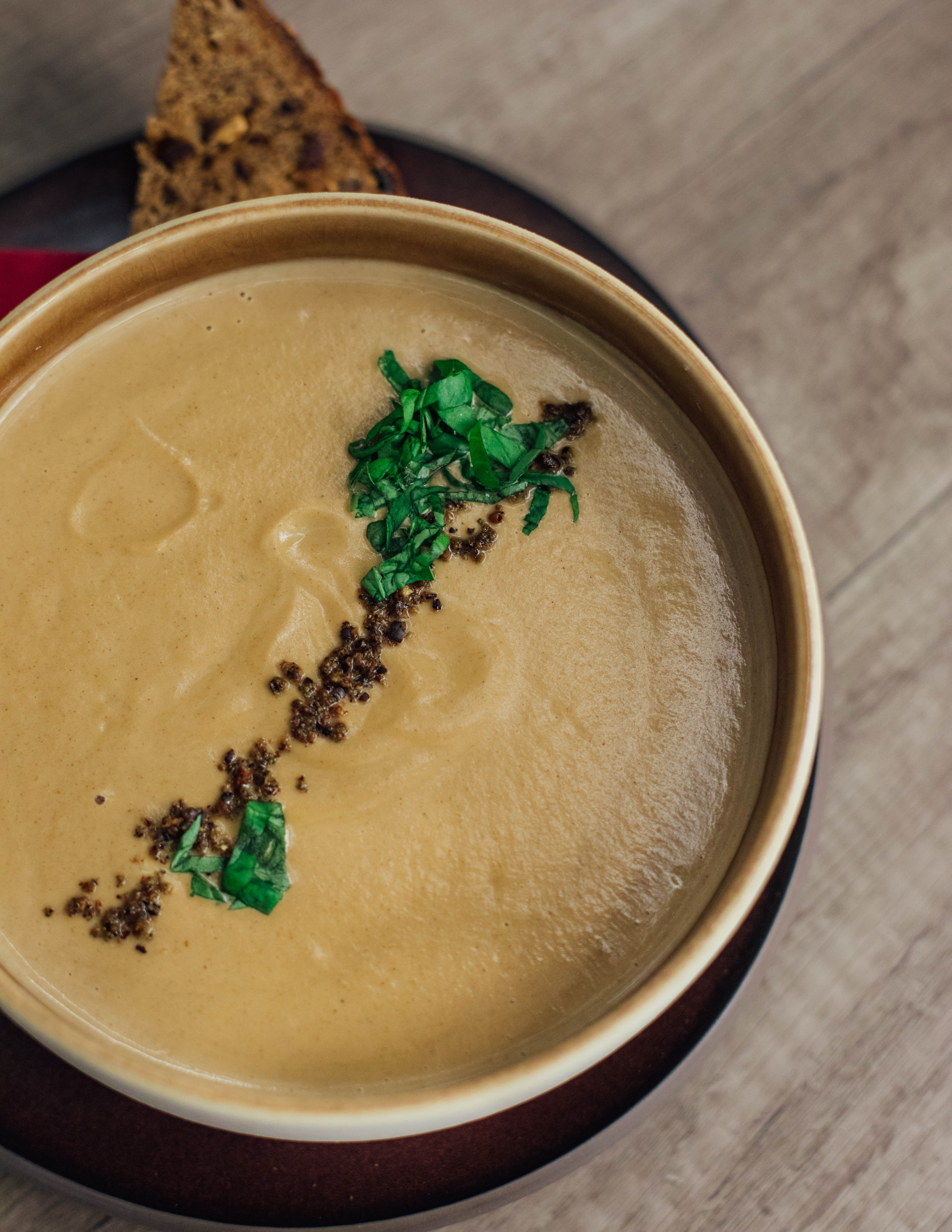 Green Leaves With Brown Soup