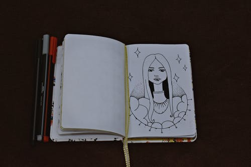 Opened Book Showing Sketch
