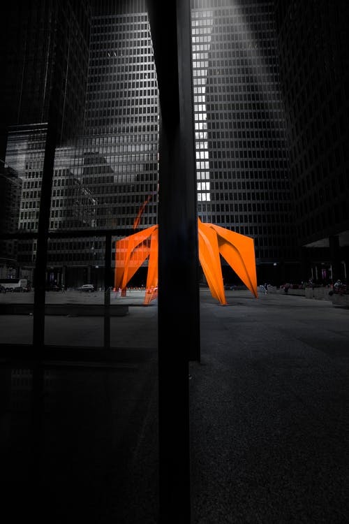 Orange Tent Infront Of A Building