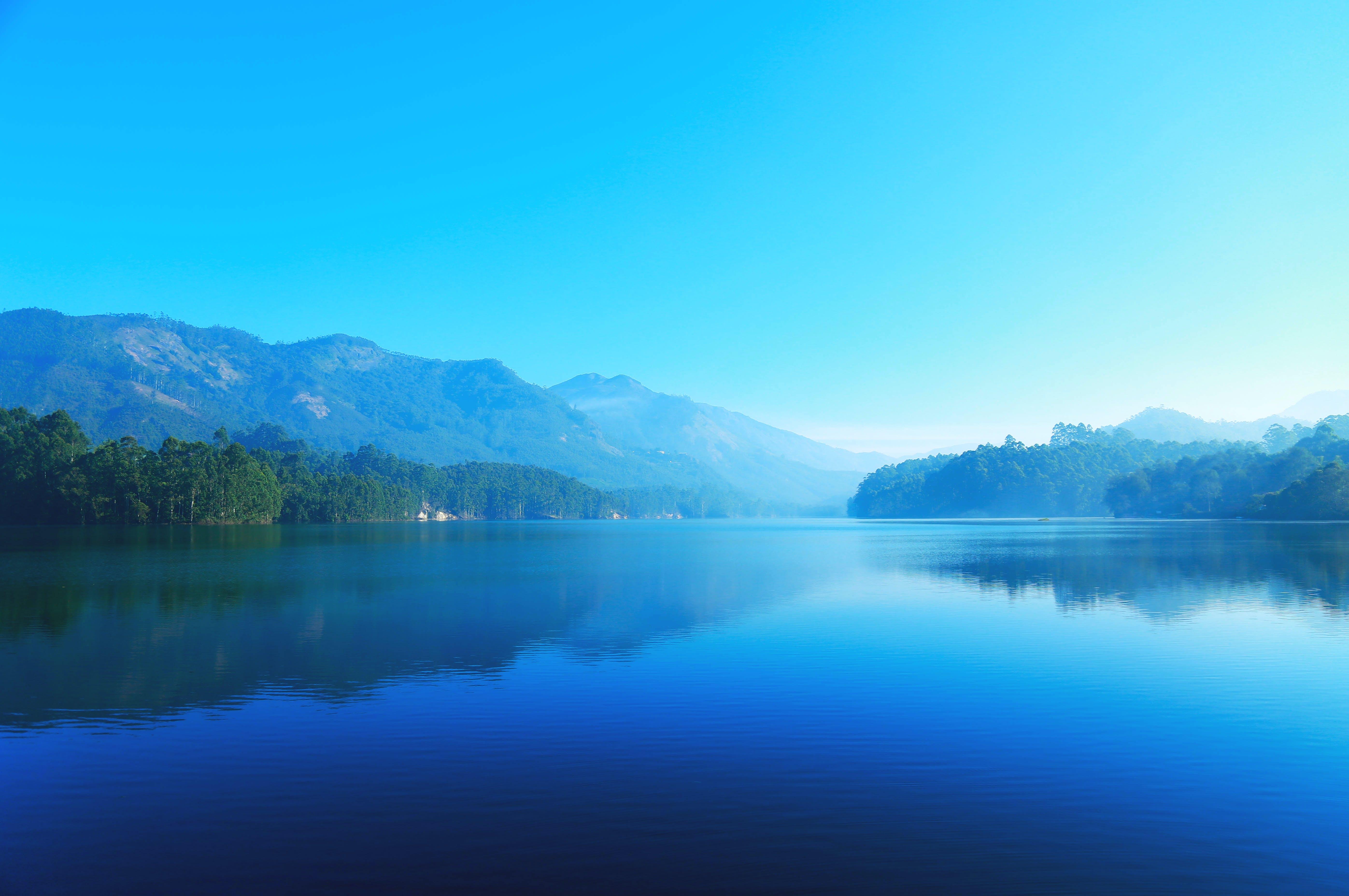 山, 水, 空, 青の無料の写真素材