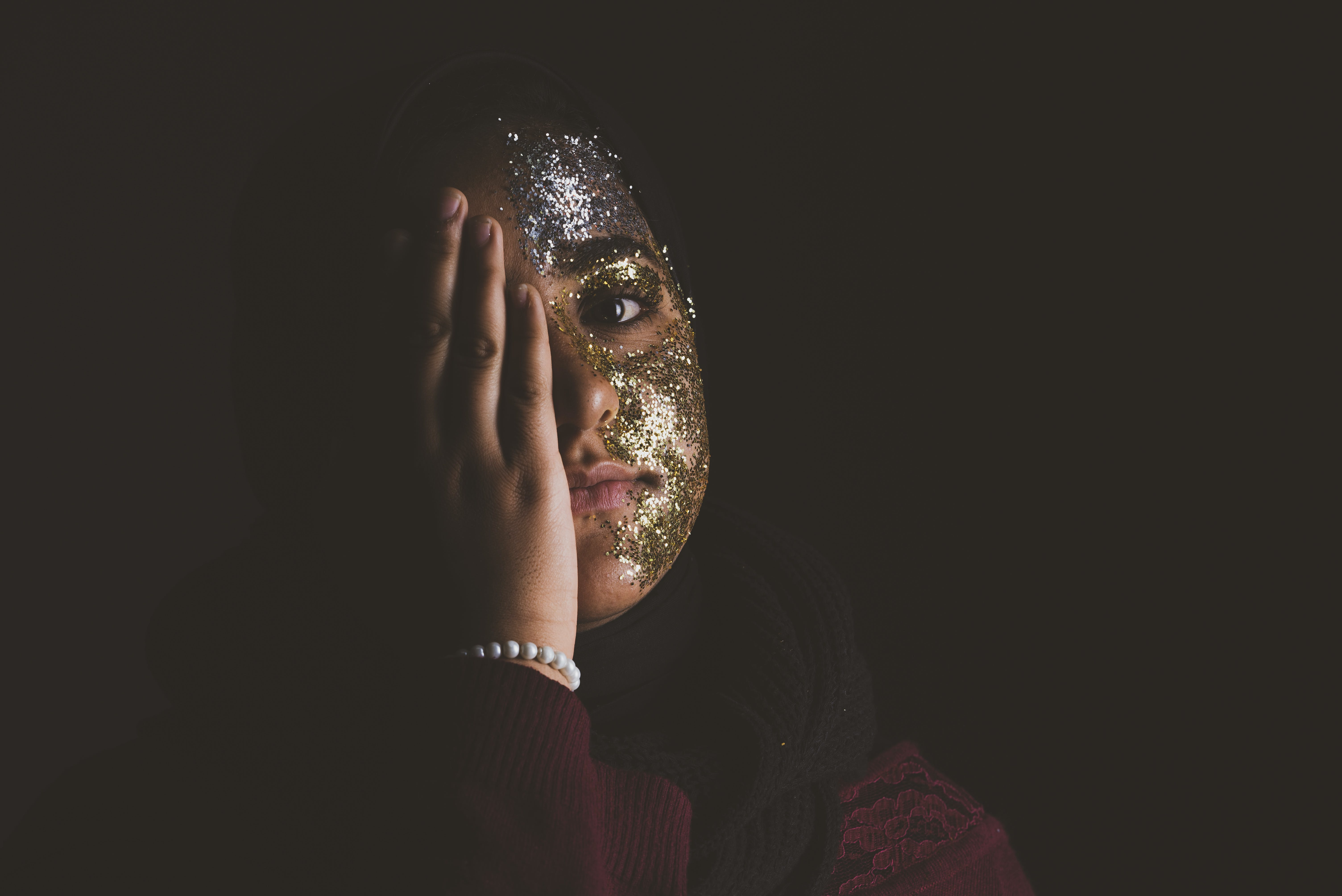 Woman Covering Her Right Eye