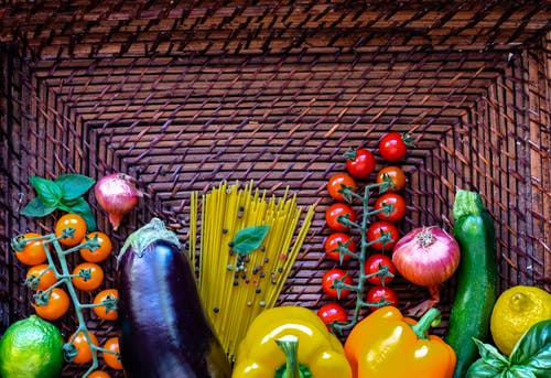 Free stock photo of background, eggplant, pepper, tomatoes
