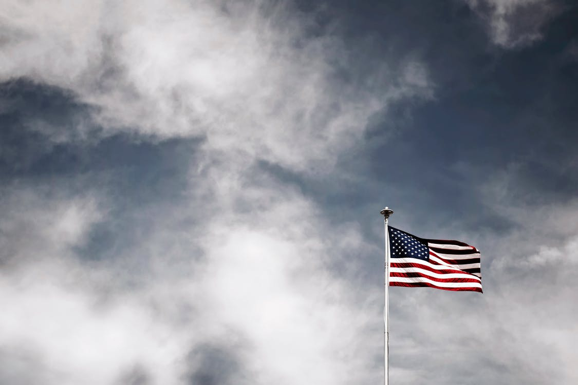 Flagge Der Usa Auf Einem Pol