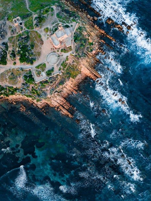 Foto profissional grátis de aerofotografia, de cima, foto aérea, mar