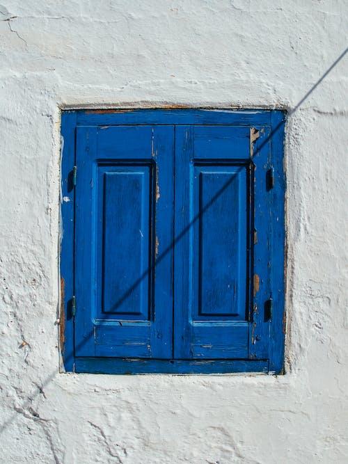 Closed Blue Wooden Window
