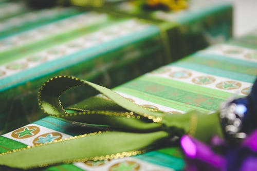 Green Ribbon On Gift Box