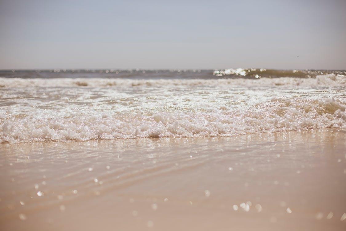 lautan, pantai, pasang