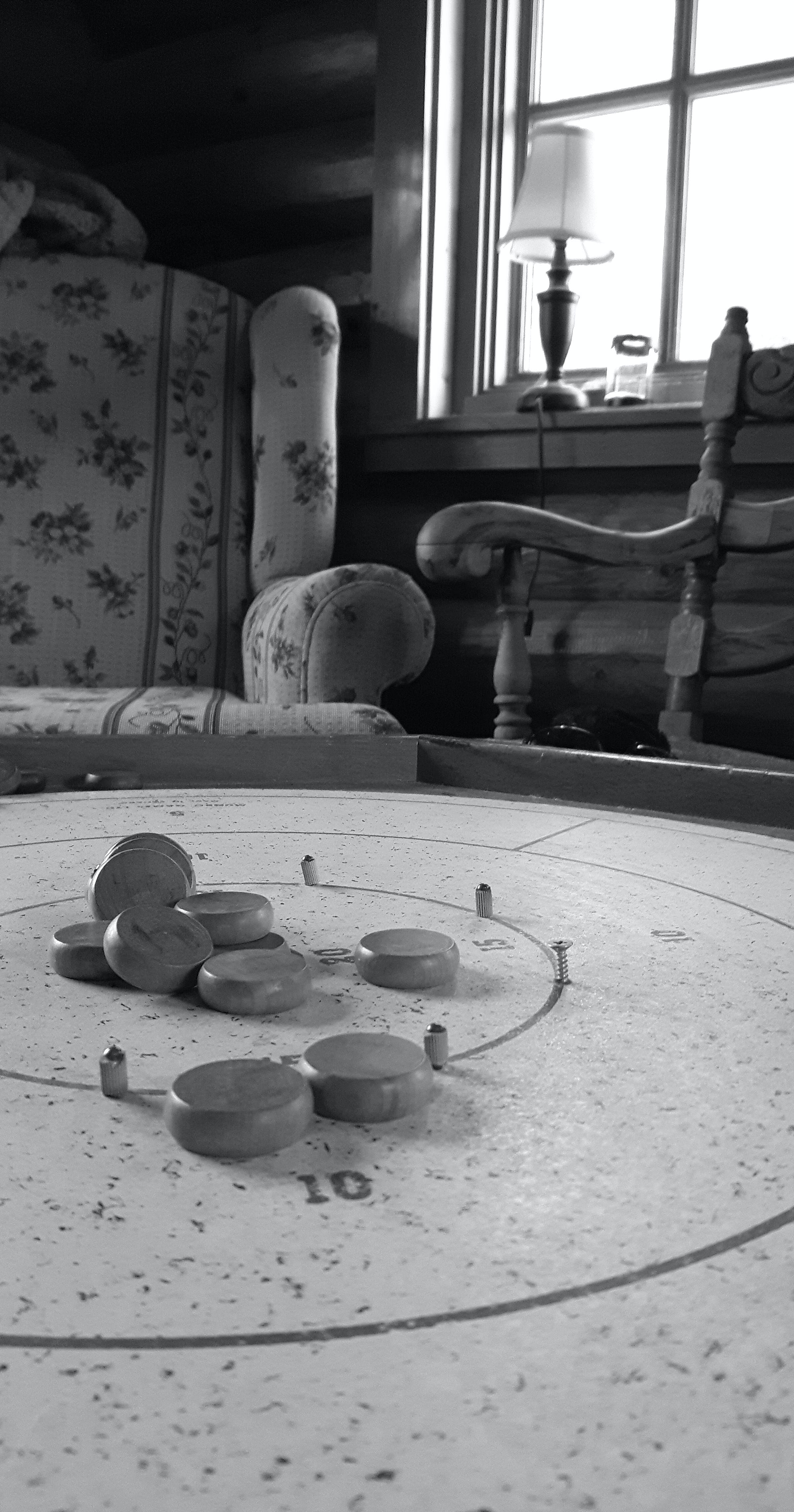 Free stock photo of b&w, black and white, crokinole, games