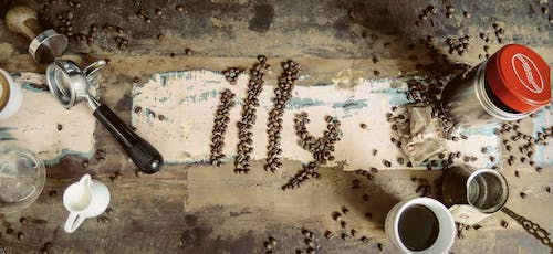 Free stock photo of coffee, coffee beans, milk, wood