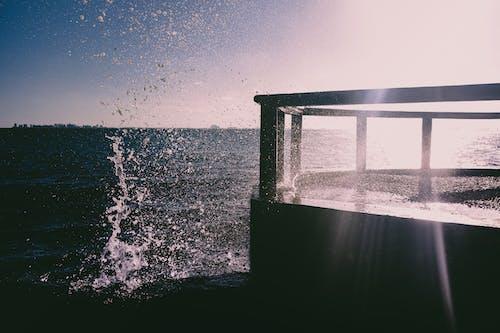 Silhouette of Dock Near Body of Water