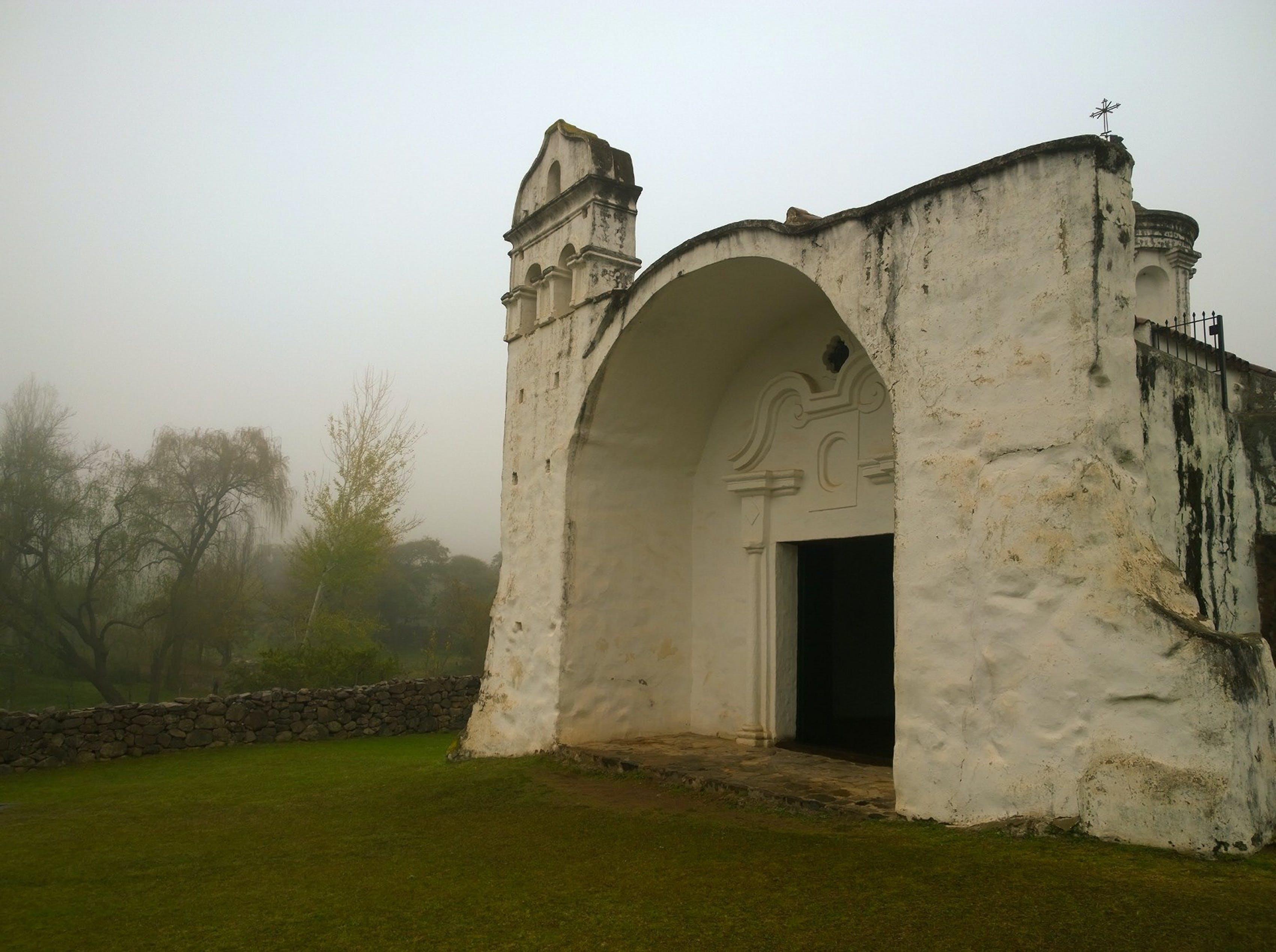 Free stock photo of church, country, fog, mountain