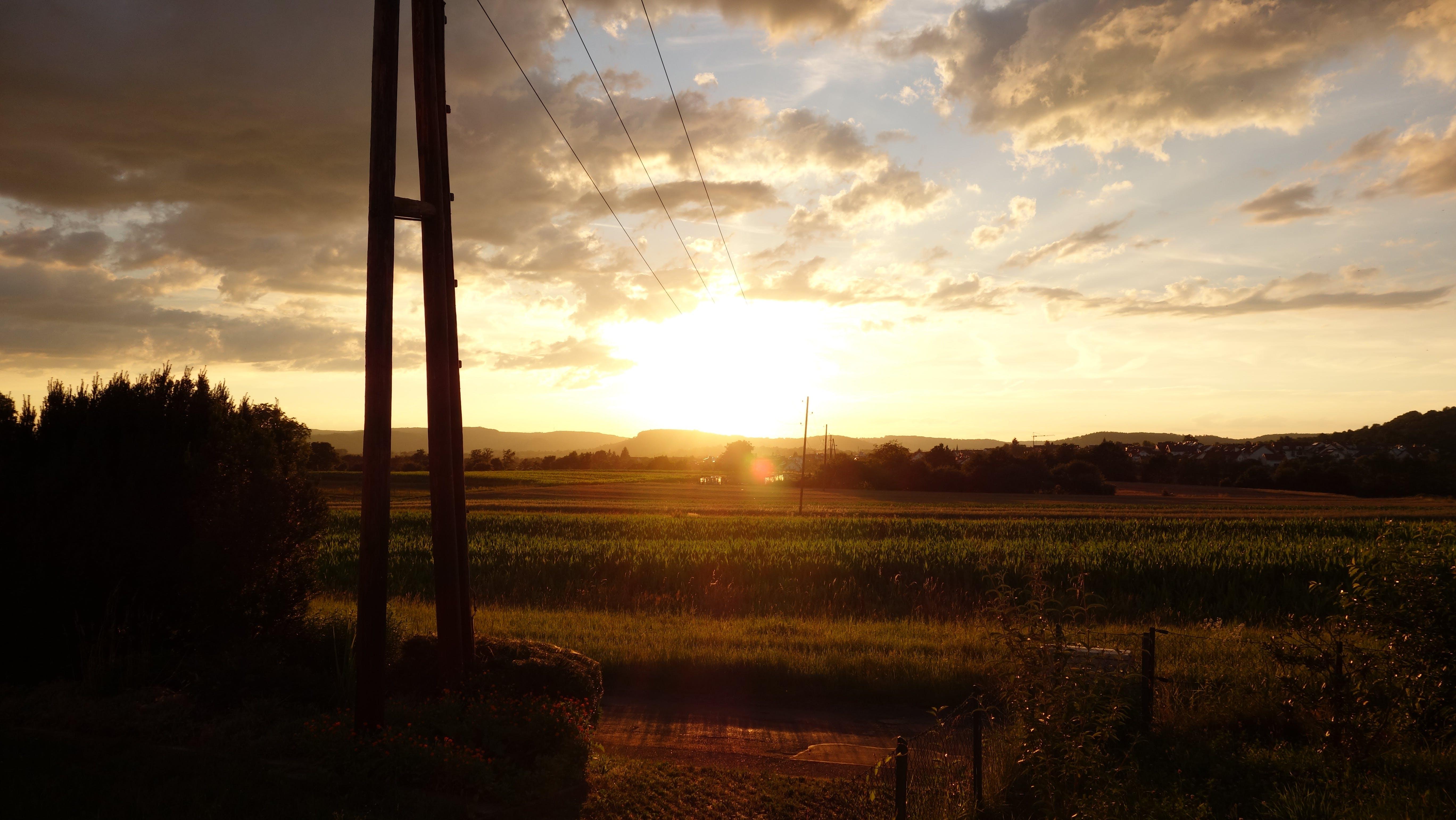 Green Field Landscape Photo during Sunrise