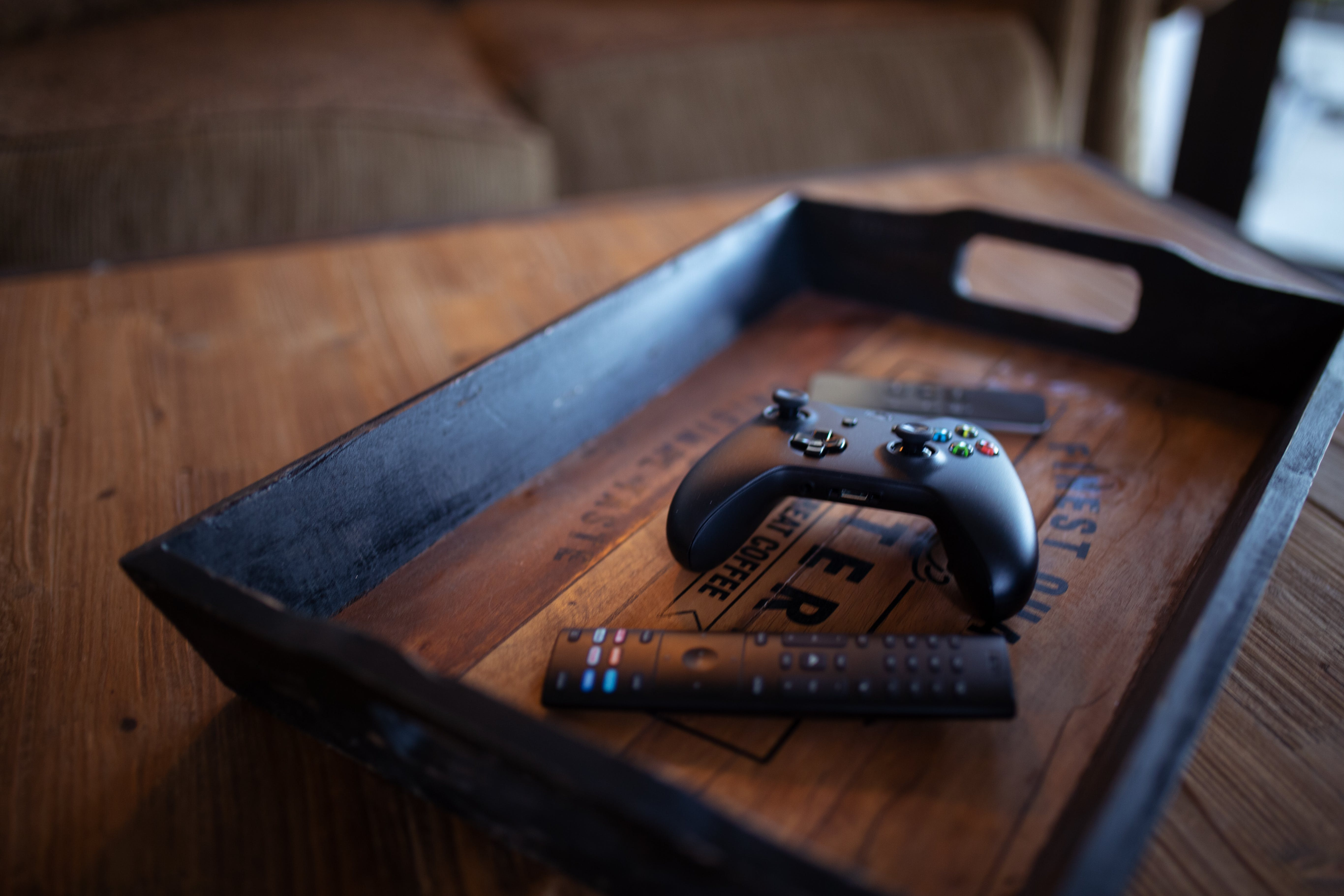 Black Controller On Tray