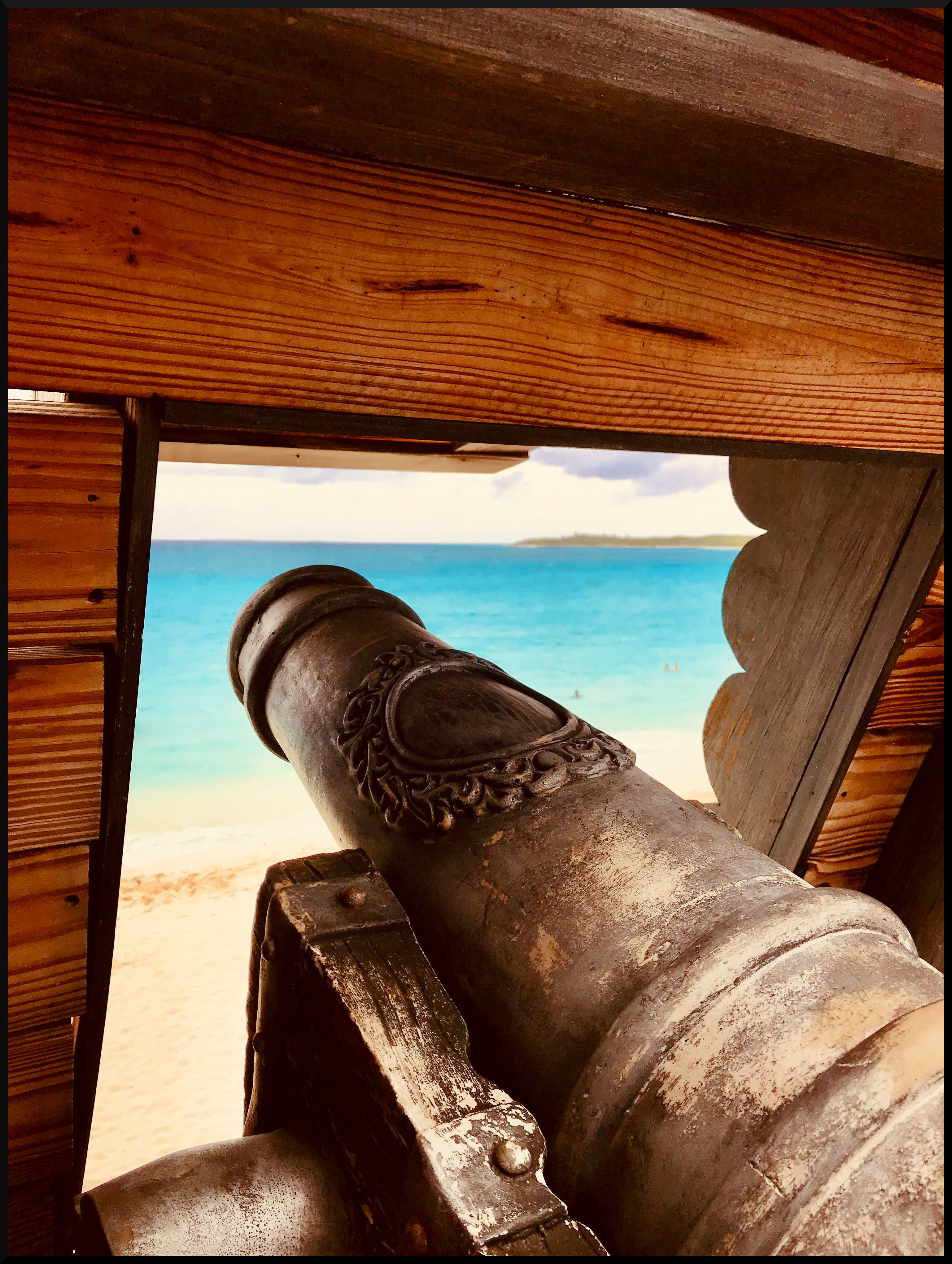 Free stock photo of cannon, ocean, wood