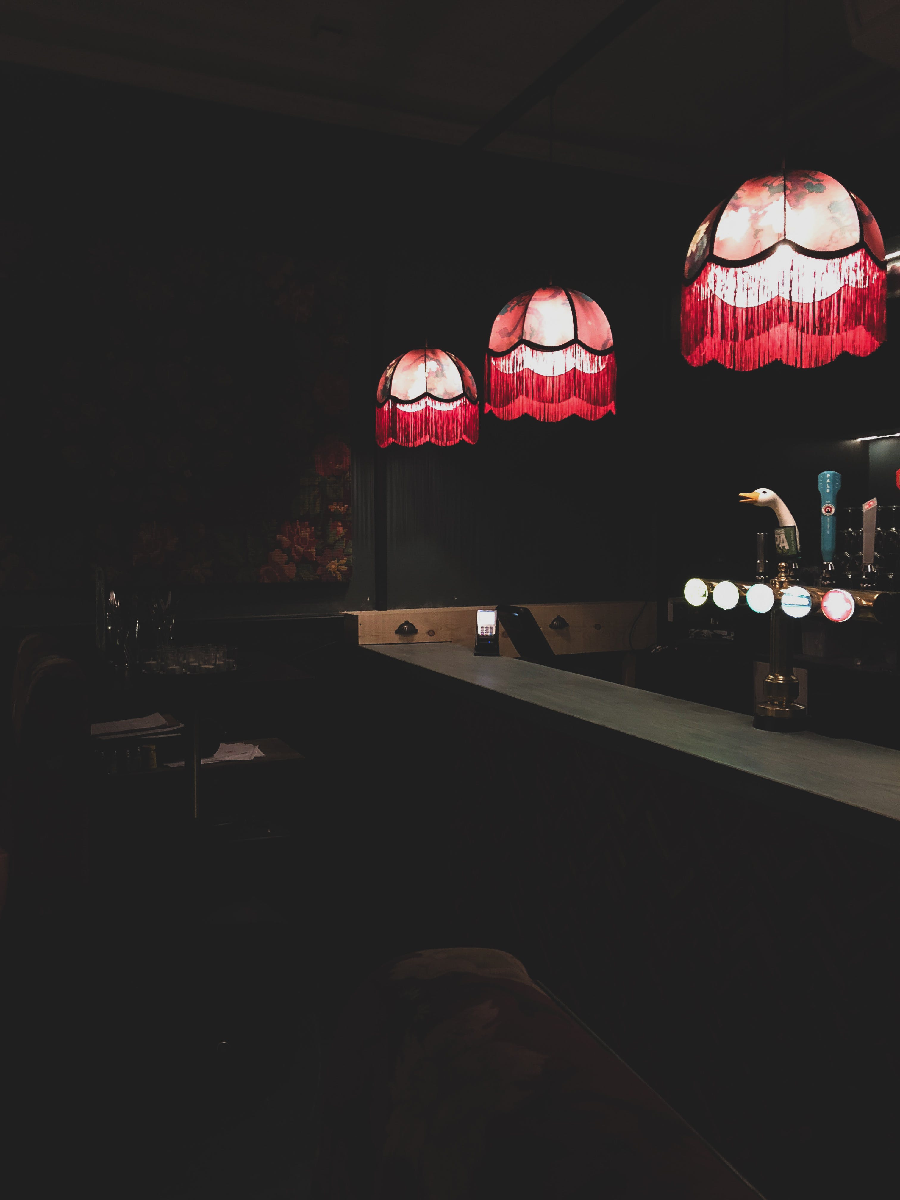 Bar Pendant Lamps Turned on