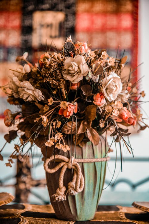 Brown and White Flower Bouquet