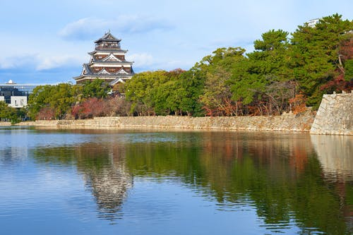 Foto stok gratis bayangan, hiroshima, Jepang, Kastil