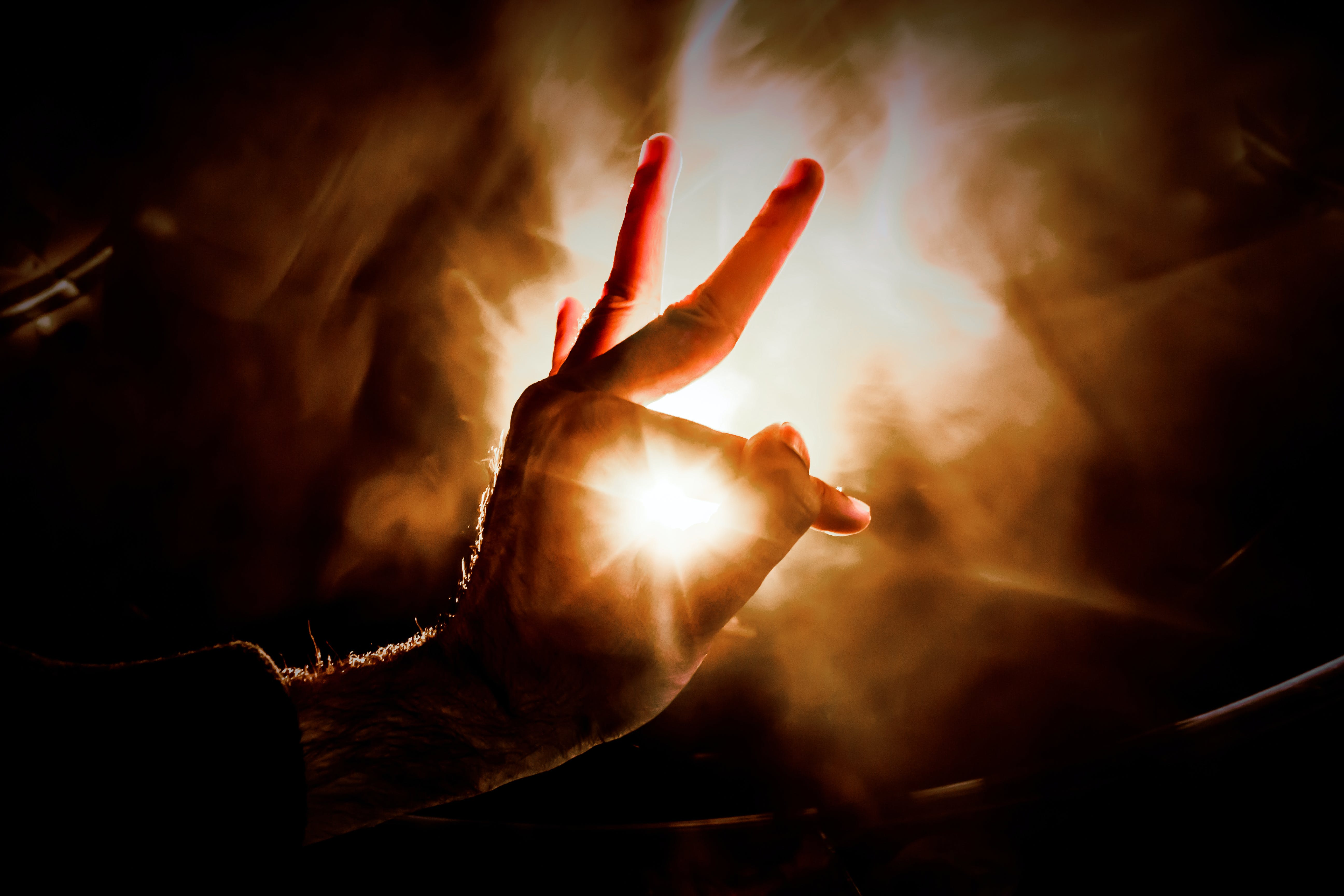 Hand Gesture Lighted Upon on