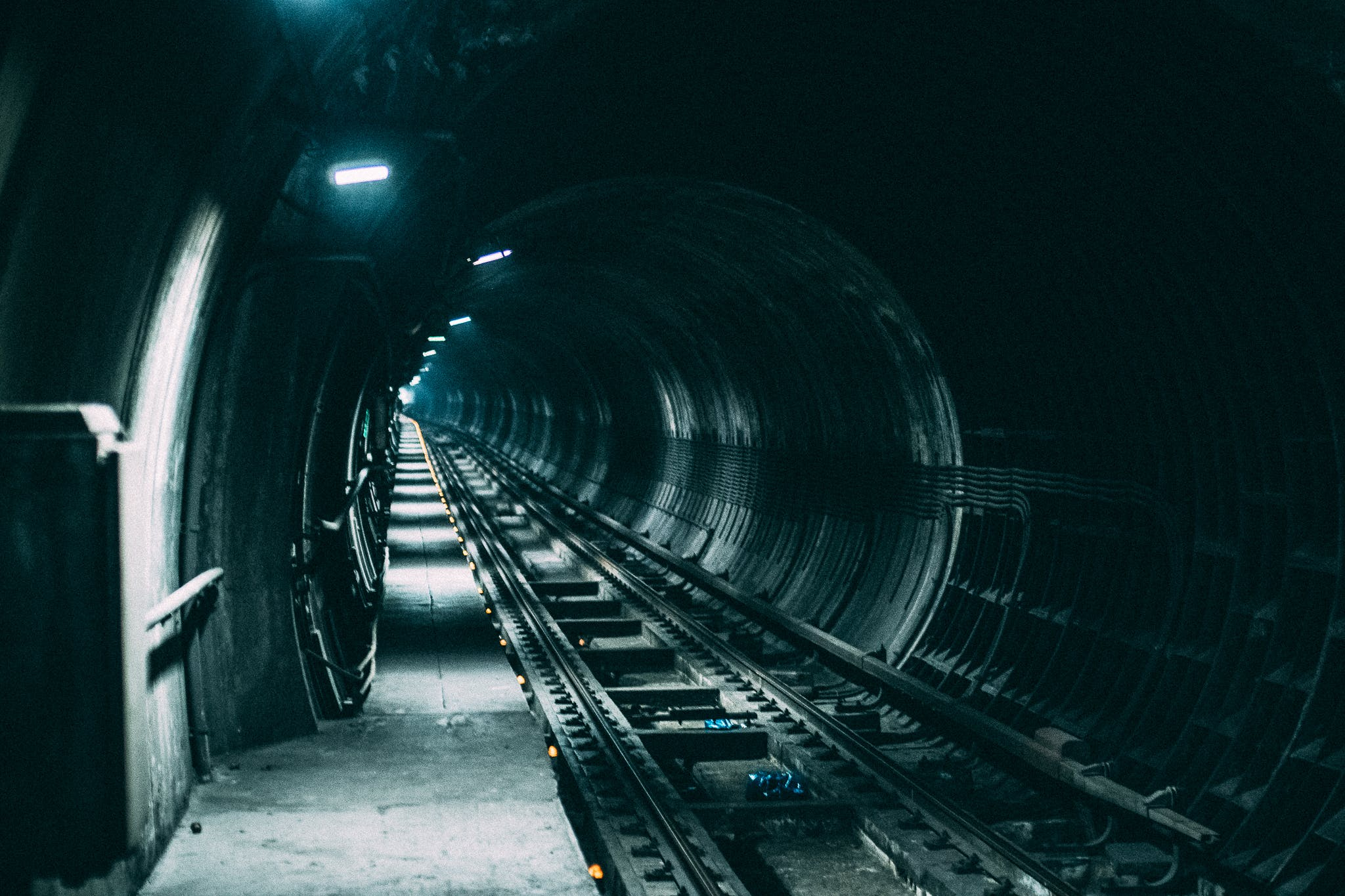 Empty Train Rail With Light