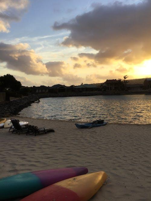 Free stock photo of beach, canoe, evening sun