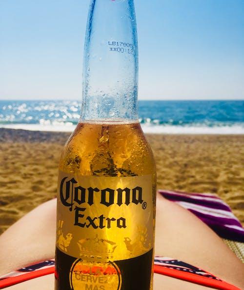 Foto d'estoc gratuïta de cervesa a l'estómac, cervesa de corona, cervesa i platja