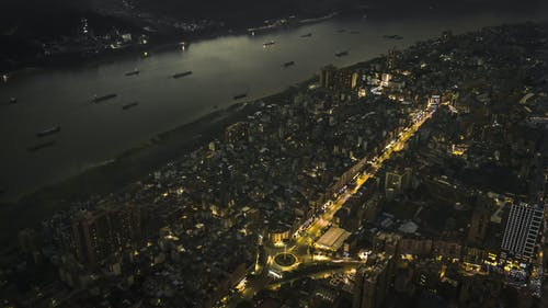 Free stock photo of drone photography, night city, single