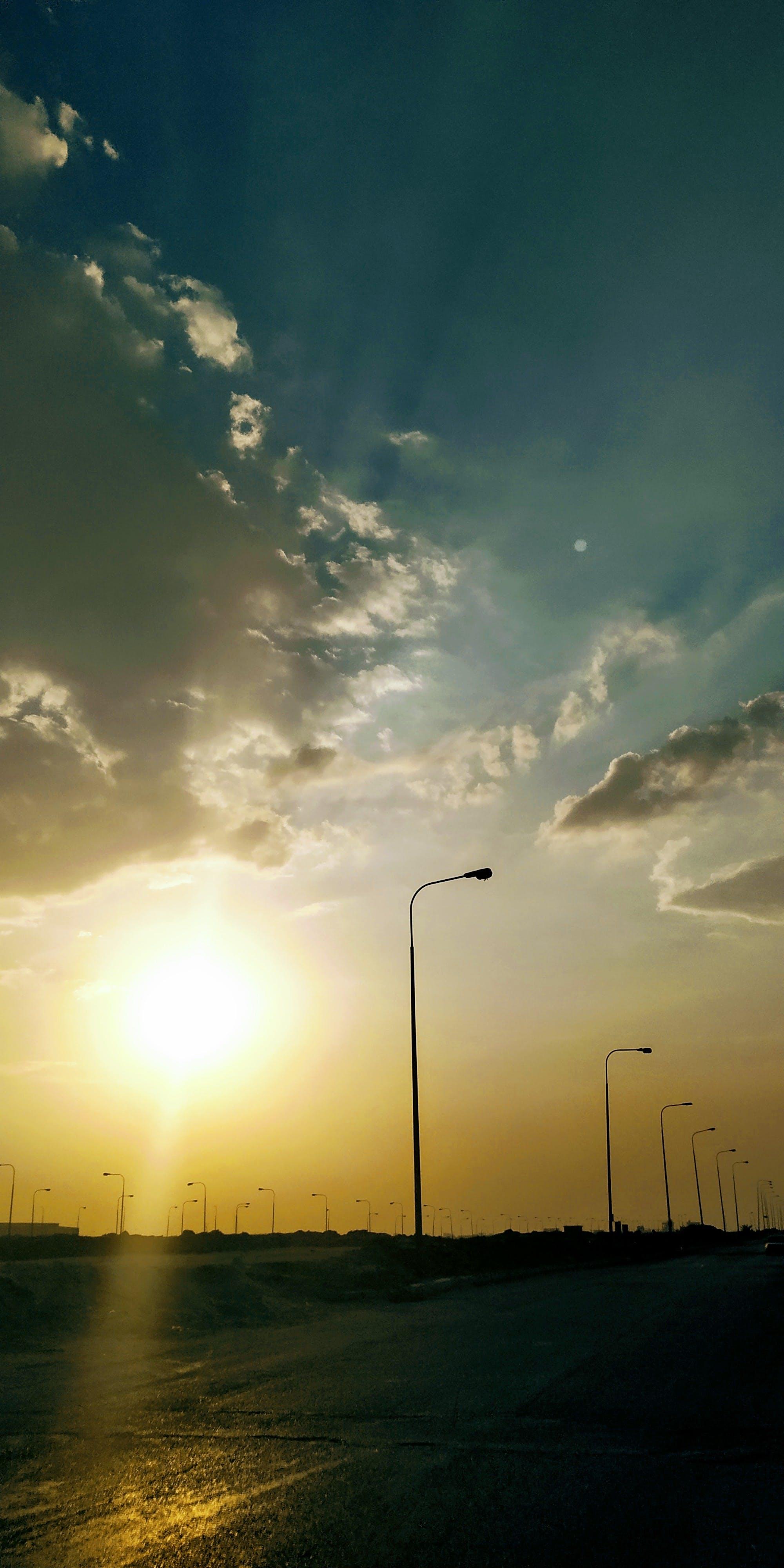 Free stock photo of road, sky, sun, sunset