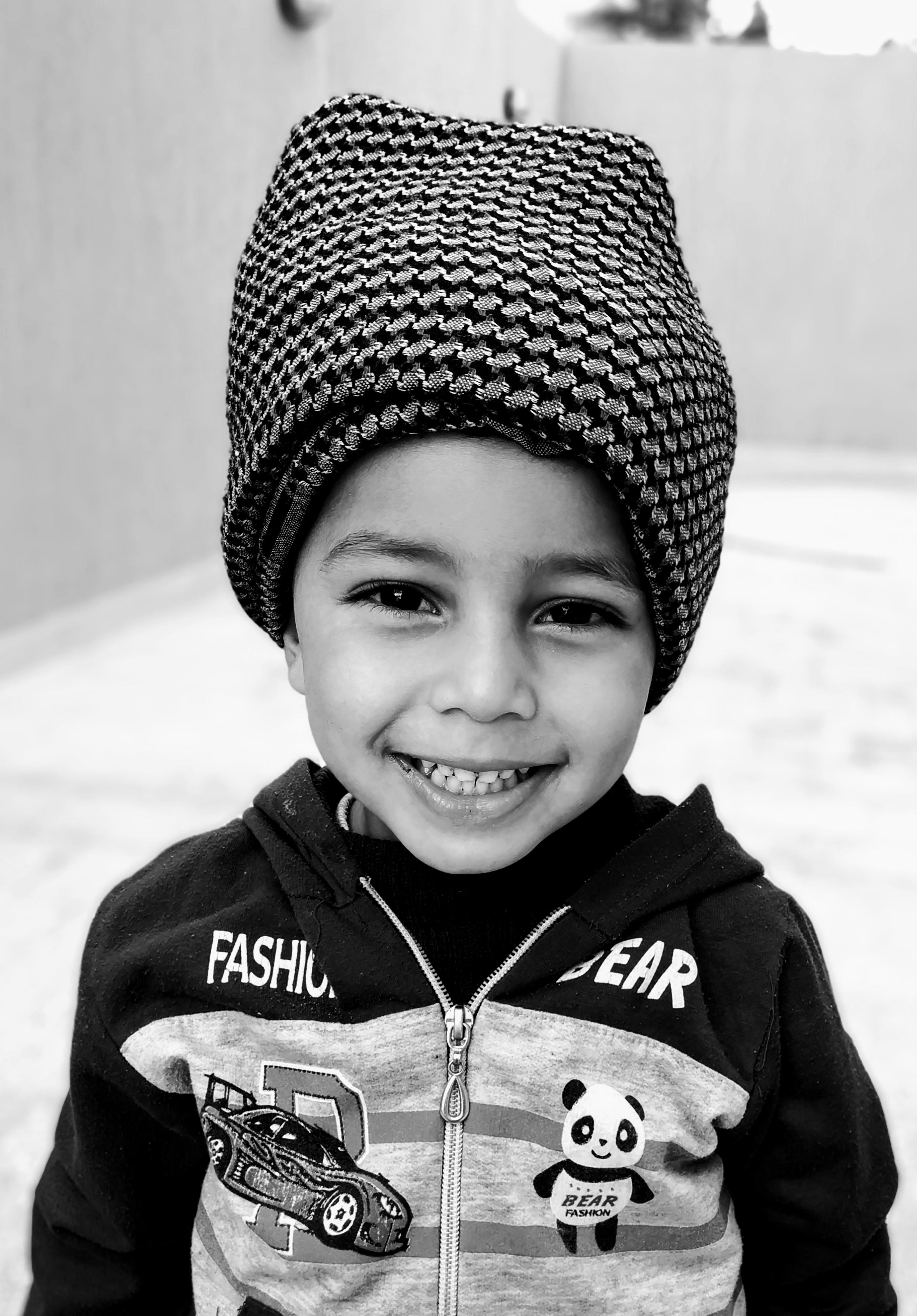 Free stock photo of black and white, cap, laugh, smile