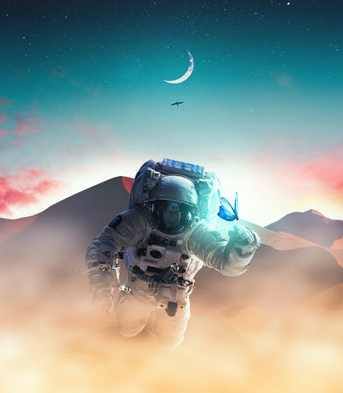 Ilmainen kuvapankkikuva tunnisteilla Adobe Photoshop, astrologia, astronautiikka, astronautti