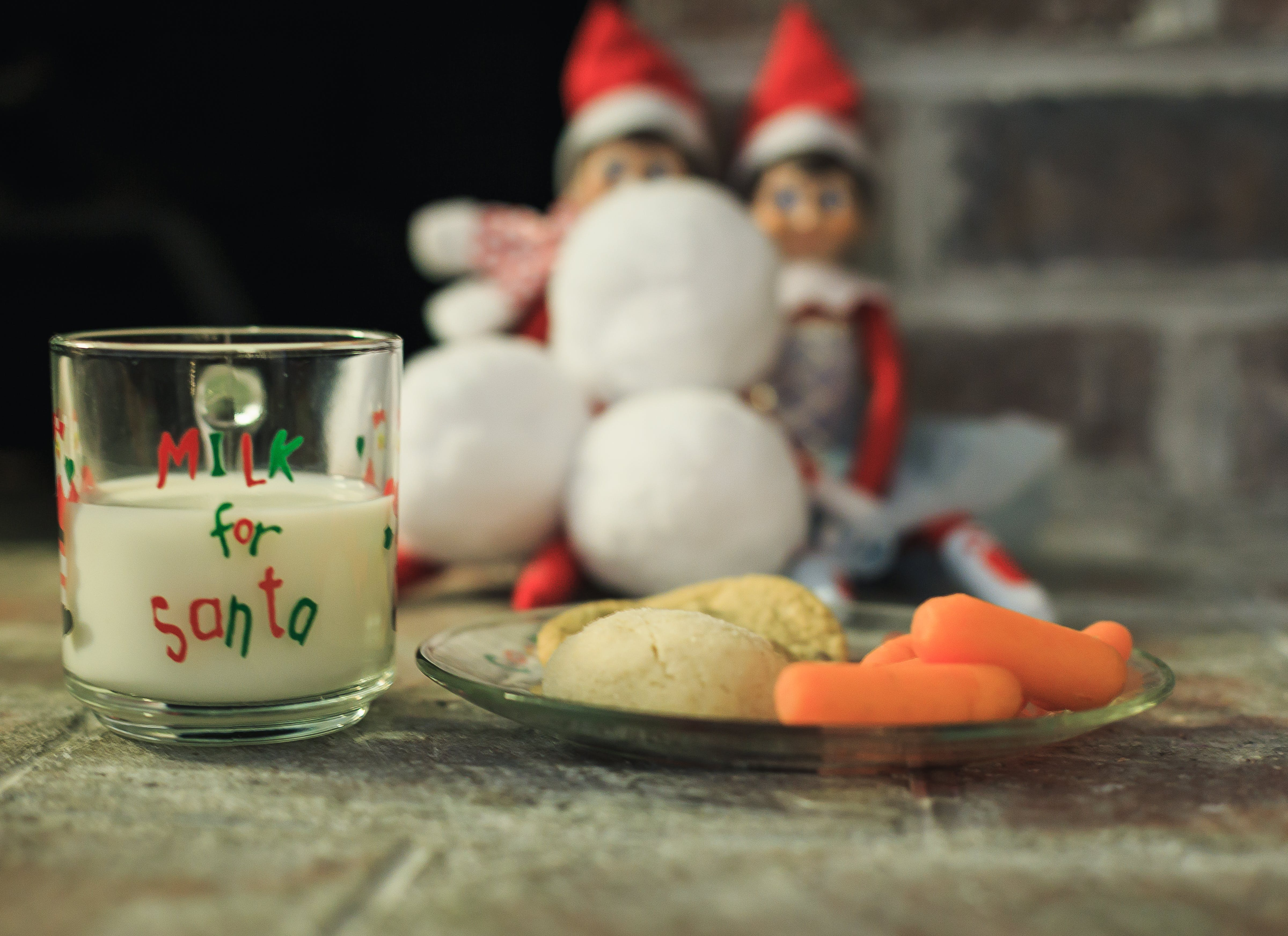 Free stock photo of christmas cookies, elves, milk