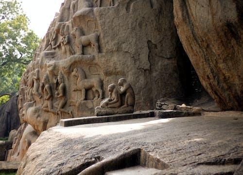 Бесплатное стоковое фото с индия, махабалипурам, обезьяна, резьба по камню
