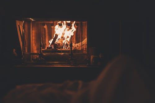 在壁炉中燃烧的木柴