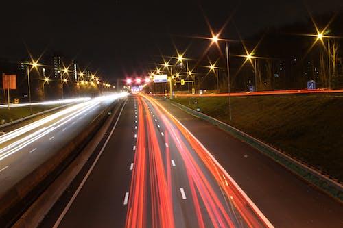 晚上, 曝光, 汽車, 燈光 的 免费素材照片