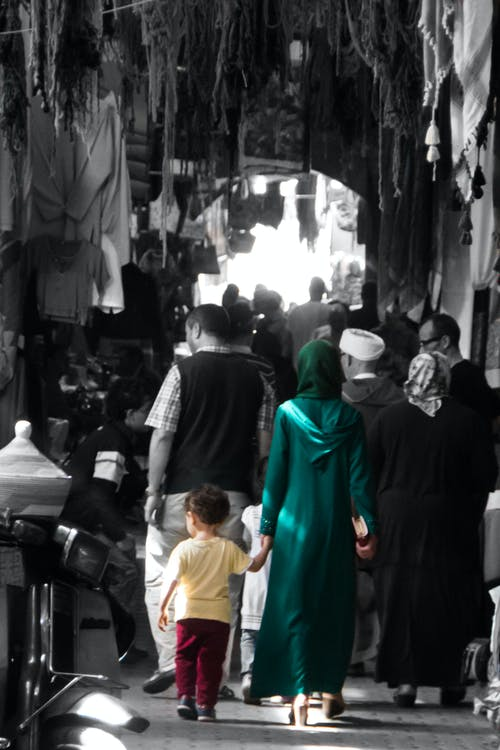 Free stock photo of busy street, family, market, morocco