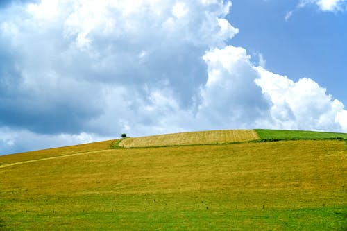 Green Grass Covered Mountain Under White and Blue Skies