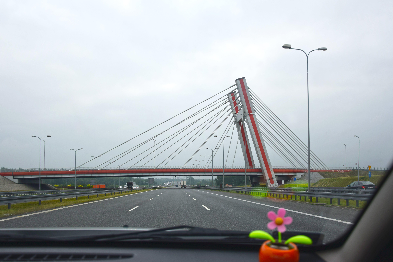 Suspension Bridge Ahead of Road
