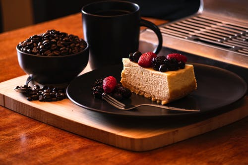 Free stock photo of cheesecake, coffee, coffee beans, food