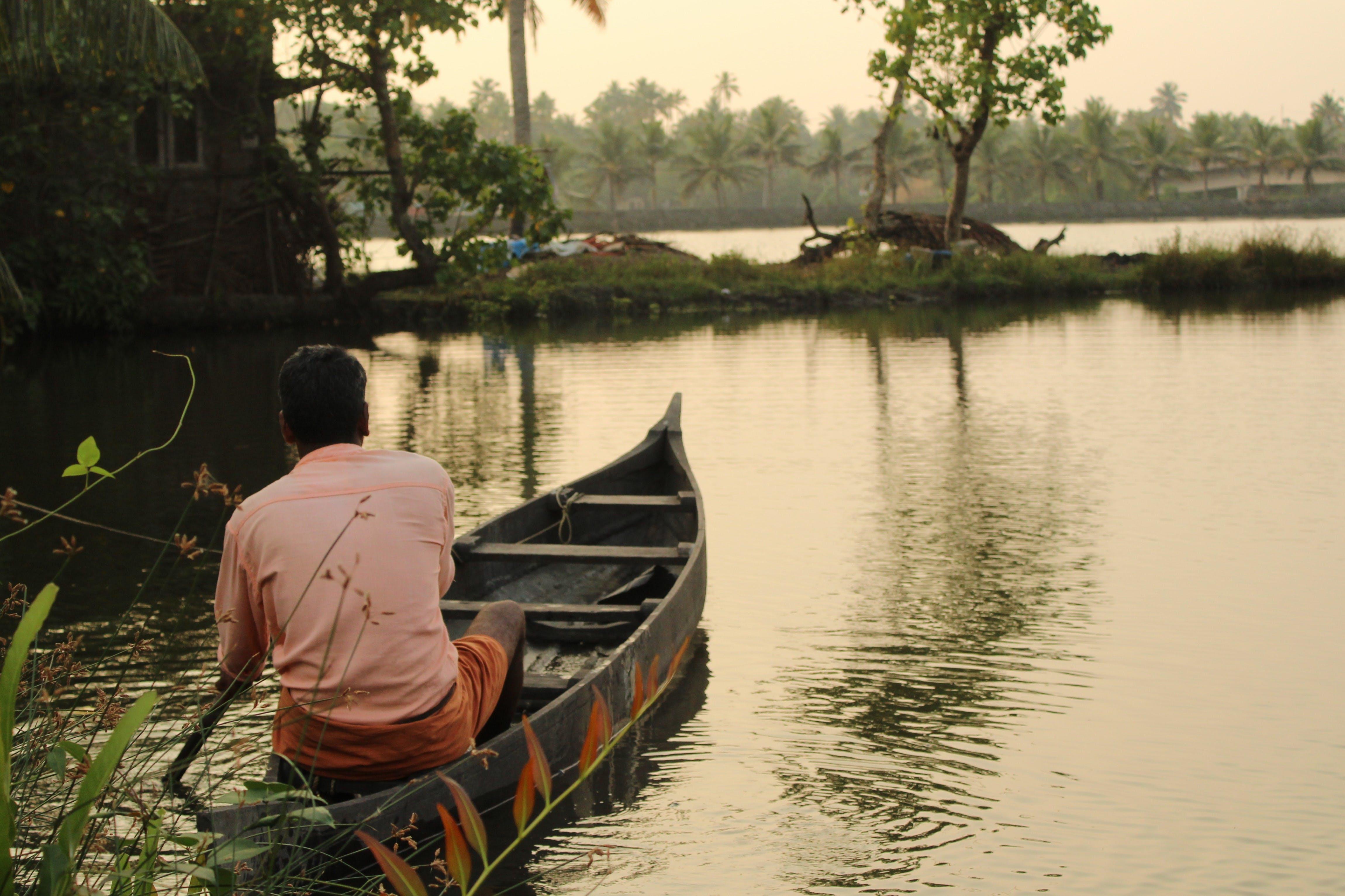 Základová fotografie zdarma na téma cestovní ruch, člun, člunu a muže, příroda pozadí