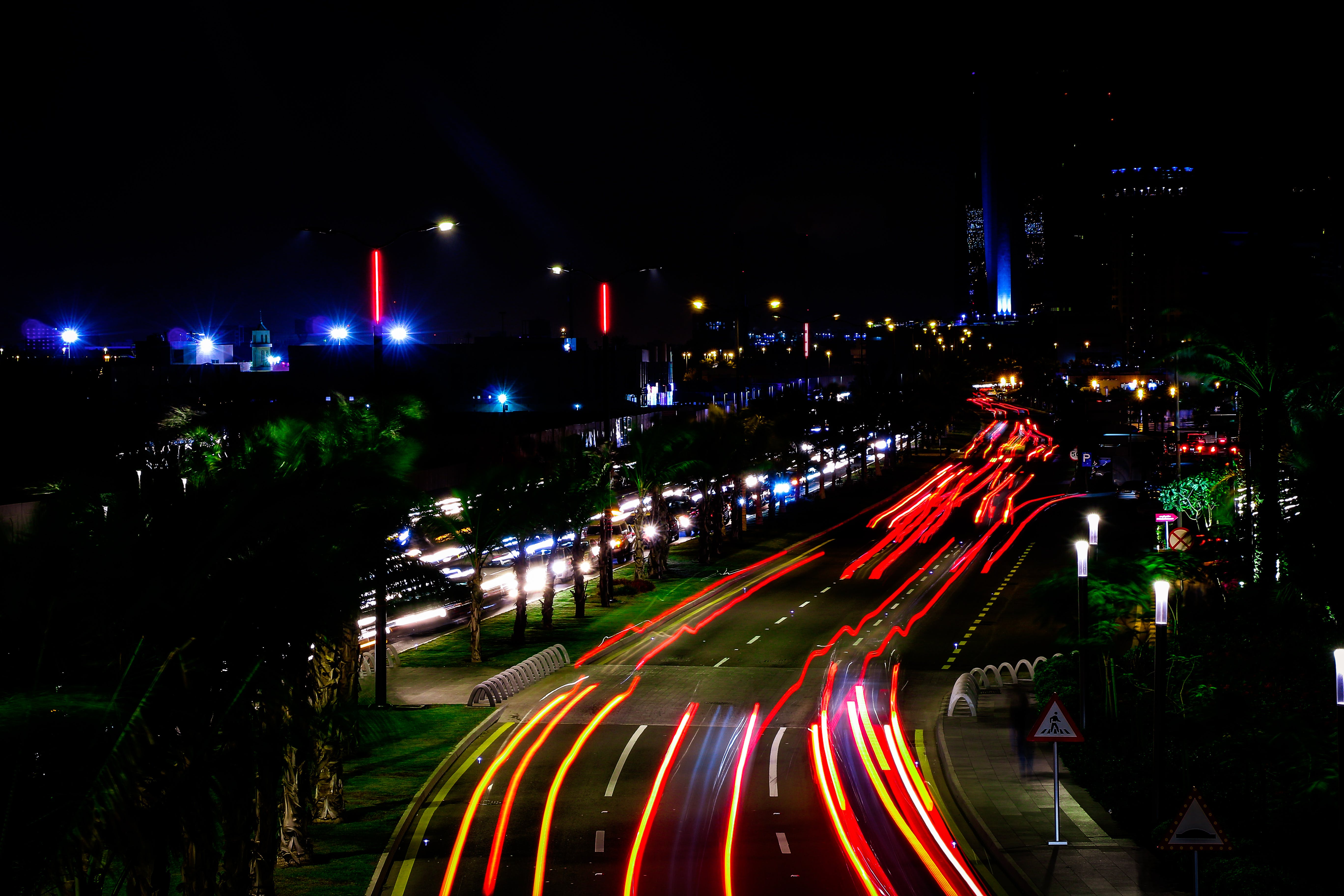 Free stock photo of busy street, car lights, light trail, photography