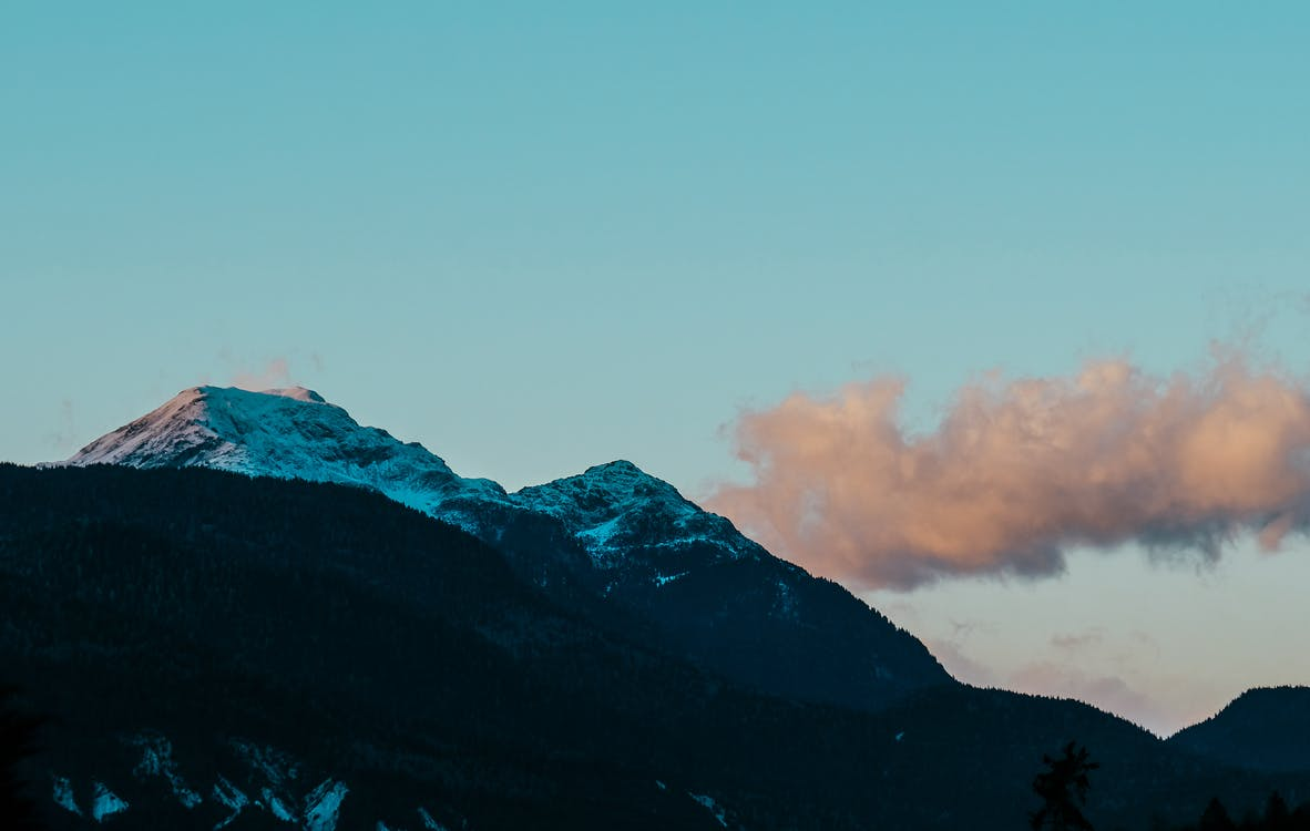 Snow-covered Mountain Under White Sky