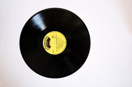 Retro phonorecord with yellow label on white background