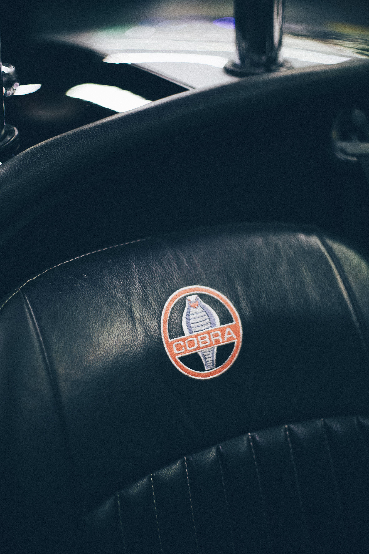 Cobra Logo Print On Car Seat Free Stock Photo
