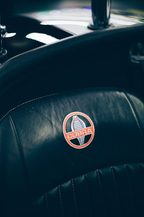 Cobra Logo Print on Car Seat