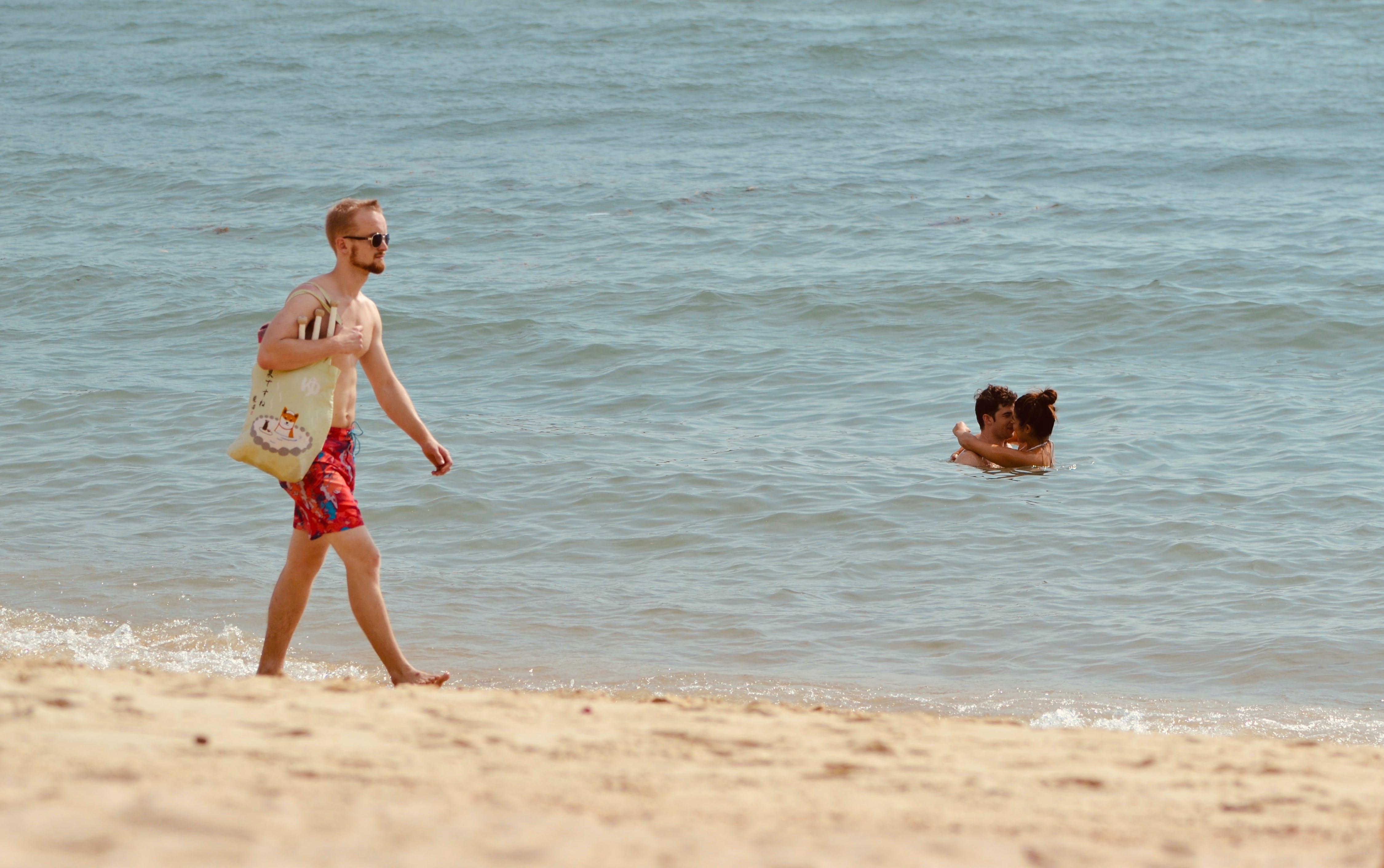 걷고 있는, 맑은 날, 모래, 바다의 무료 스톡 사진