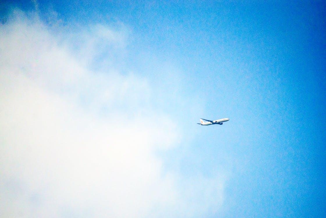 blå himmel, flyvemaskine, himmel