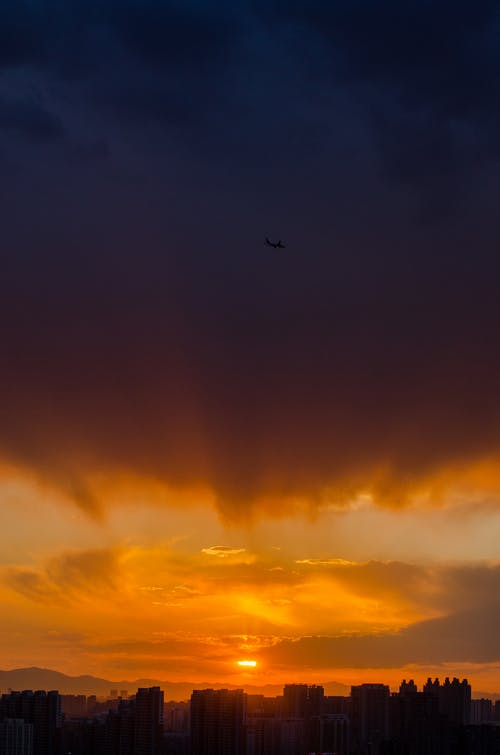 Free stock photo of cloud, plane, sky, sunset