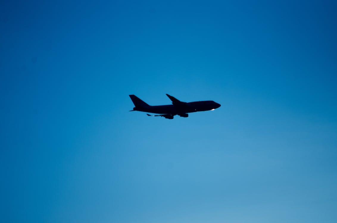 lietadlo, modrá, modrá obloha